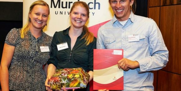 From Left: Secretary Christina Birnbaum, The Winner Merryn Prior, President Pawel Waryszak.